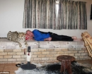 Jolie el guepardo,  pasando el rato con el propietario Japie Pienaar